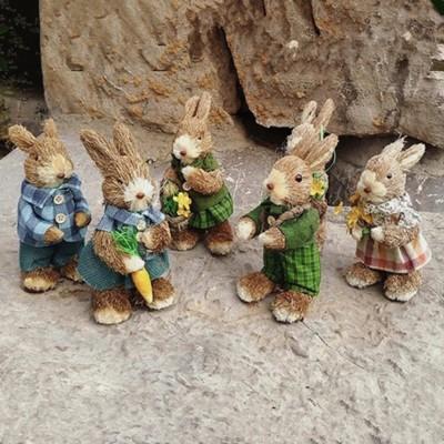 森林田園風,純手工草編兔子,家居擺設,情侶套裝,共3款