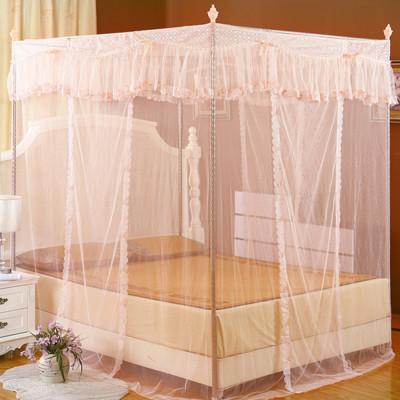 蚊帳 (單人3尺)三開門宮廷風落地式蚊帳,夏日防蚊蟲必備 -粉玉色