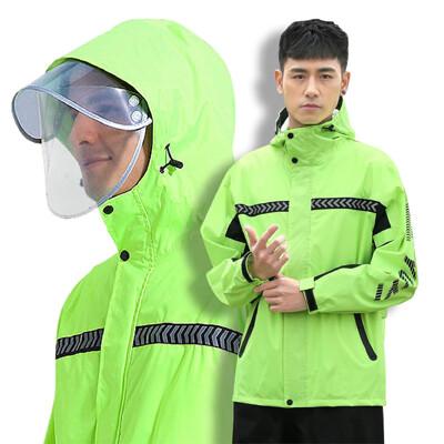 【兩件式雨衣套裝 (紅/綠)】雨衣雨褲兩件式雨衣 雙帽簷機車雨衣 兩截式雨衣 防水防風雨衣