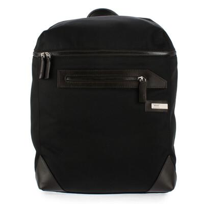 ARMANI COLLEZIONI 鐵牌LOGO皮革飾邊後背包(黑色)102306