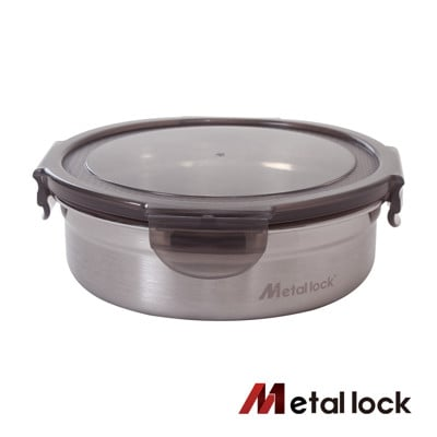 【韓國Metal lock】圓形不鏽鋼保鮮盒800ml