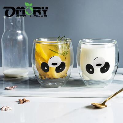 【OMORY】動物雙層玻璃杯/玻璃雙層杯245ml -熊貓