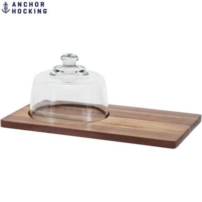美國安佳 anchor風格木板蛋糕盤 玻璃蓋 點心盤 ins風 石板盤 起司盤