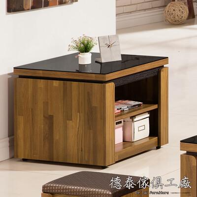 D&T 德泰傢俱 BRIAN積層木2尺小茶几(附黑玻) A026-03-6