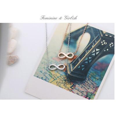 無限符號兩色女生白鋼項鍊-ASS005