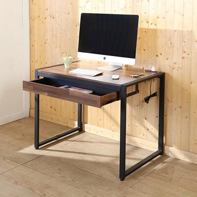 Buyjm  LOFT工業風防潑水98公分黑烤漆方框工作桌/附插座/電腦桌-D