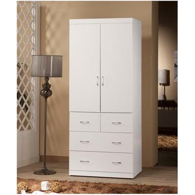 【MUNA】阿諾德2.7X7尺衣櫥(白色,胡桃)