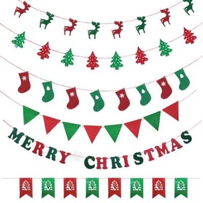 聖誕3米 8面 掛旗 旗幟 不織布旗幟 聖誕節 麋鹿 聖誕襪 聖誕樹 三角旗掛飾 耶誕佈置