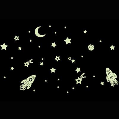 時尚壁貼-夜光太空火箭