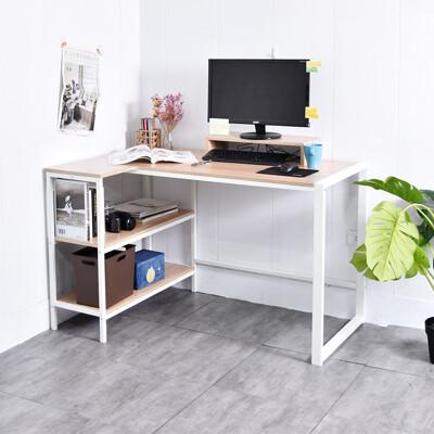 凱堡 木紋風L型工作桌送螢幕架【B16111】