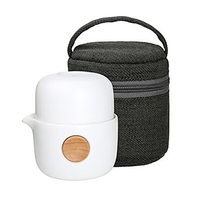 Quicker雙享泡-布包組(250ml) 旅行茶具 泡茶杯 瓷器茶具 便攜型茶具 套裝茶壺茶杯