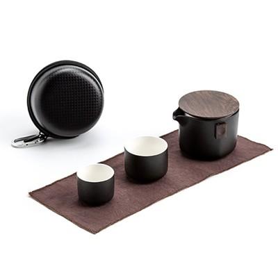 禪意旅行組-黑(壺+2杯) 旅行茶具 泡茶杯 瓷器茶具 便攜型茶具 套裝茶壺茶杯 現貨