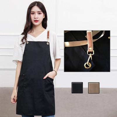 金屬鉤環全棉素面圍裙
