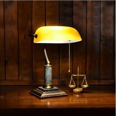 經典款全銅大理石座茶色銀行桌燈 Normande手工玻璃圖書館燈