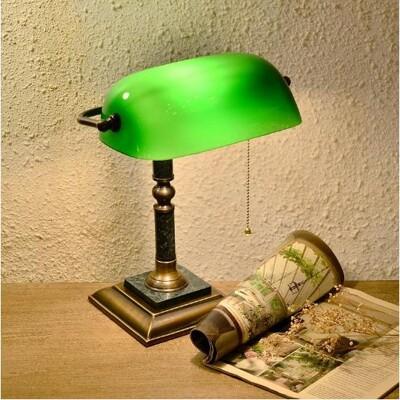 經典款全銅大理石座綠色直座銀行桌燈 Normande手工玻璃圖書館燈