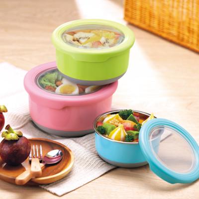 304不鏽鋼馬卡龍保鮮碗(1200ml+730ml+420ml+220ml)隨機出色/贈送餐袋*1