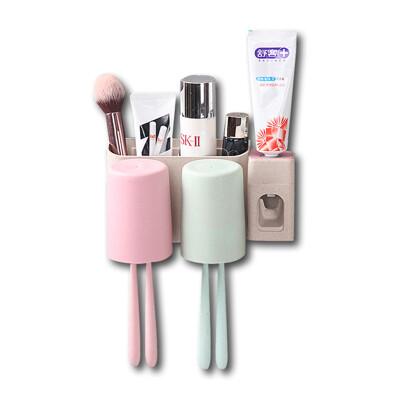 小麥秸稈牙刷牙膏架帶自動擠牙膏神器組-兩口組(適用1-2人)
