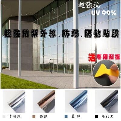 超強抗UV反光防爆隔熱貼膜 防水 防塵 防爆 抗紫外線(贈送專用刮板)