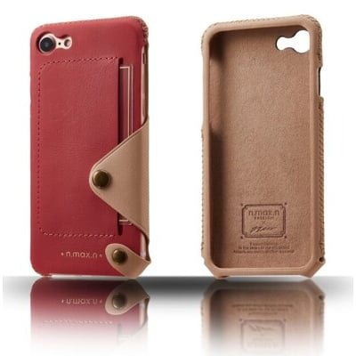 【n.max.n】 iPHONE SE二代 / 7 / 8 頂級頭層牛皮側入背套 桃紅