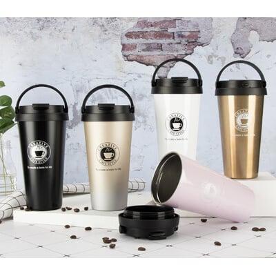 🔥送杯刷🔥無縫內膽高品質手提保溫咖啡杯 便利手提把 304不鏽鋼不銹鋼保溫杯(A017)