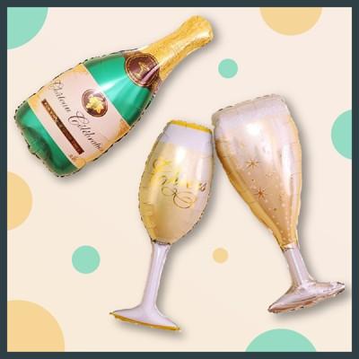 【現貨】(大)香檳/ 高腳杯香檳 鋁箔氣球 會場布置 派對 慶生 造型氣球 新年 香檳 酒杯 生日