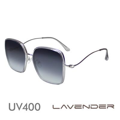 Lavender偏光片太陽眼鏡 金屬鑲邊水鑽曲腳-透嫩灰紫H7144-C2