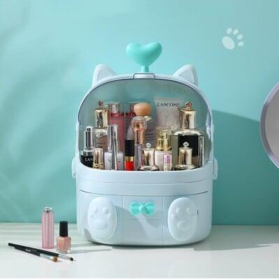 【台灣現貨,熱銷商品】可愛貓咪化妝收納 收納 化妝品收納 收納盒 桌面收納 化妝