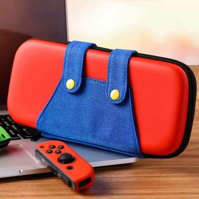 馬力歐/路易吉褲裝圖案 收納包 適用Switch 任天堂主機收納包 NS硬殼收納包
