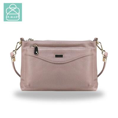 側背包 手感軟皮革優雅雙層款兩用小方包 斜背包 女包 89.Alley