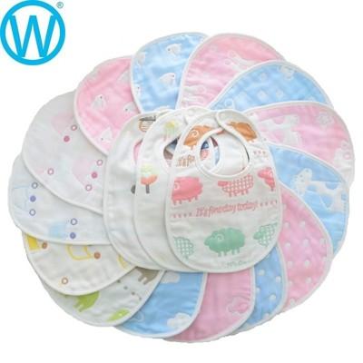 大尺寸雙面口水巾 【SGS檢驗合格】六層紗純棉U型圍兜 雙按扣 口水巾【WanWorld】