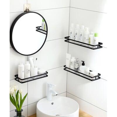 【荷生活】浴室廚房免打孔壁掛收納架 (大號) 鏤空不卡水 加厚材質更耐重