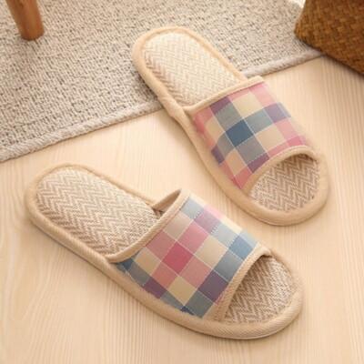 【GM175-7】亞麻拖鞋 英倫格子家居家木地板室內拖鞋 保暖拖鞋