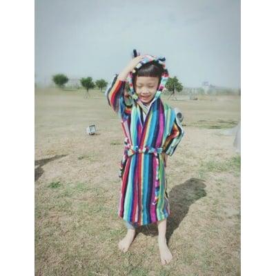 100%純棉彩色條紋兒童浴袍--連帽有可愛的小耳朵=讓Baby溫暖過冬【120-140cm】