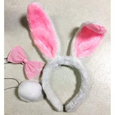 ☆派對達人☆ 兔年裝飾品/兔女郎/兔子髮箍/兔耳髮箍/~絨毛素面兔耳三件組