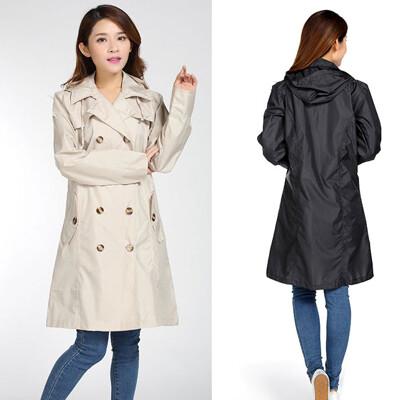 歐系大衣式防水外套/風衣式雨衣