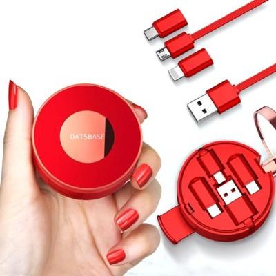 OATSBASF時尚三合一伸縮充電傳輸線+化妝鏡+手機支架 Apple&Micro&Type C插頭