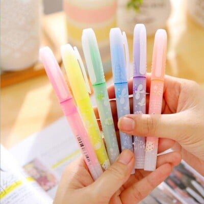 斜頭香味螢光筆 6色 學生彩色塗鴉筆 辦公標記筆 記號筆 文具 辦公 重點劃線標記筆 卡片塗鴉