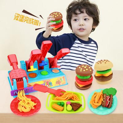 兒童黏土玩具 彩泥3D黏土美食屋 漢堡大師彩泥套組 8PCS小廚師麵條機黏土組 漢堡麵條黏土模具
