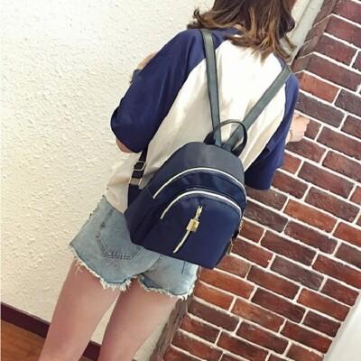 防潑水尼龍小背包 後背包 背包 無印 素色 雙肩背包 女生 包包 側背包 雙肩包 後背小