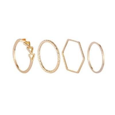 幾何設計四件套戒指【XU122】女簡約鍍金飾品 戒指 飾品交換禮物 百搭 個性飾品