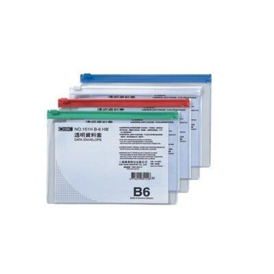 COX三燕 NO.151H B6 橫式透明資料套 資料袋 資料夾 收納袋 防水防塵 1入5個