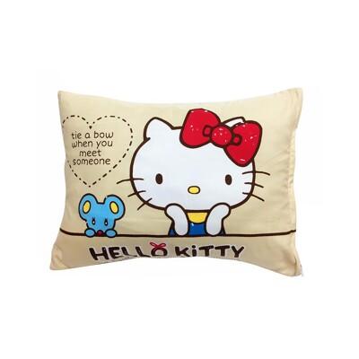 【享夢城堡】午安童枕45x33cm-HELLO KITTY 蝴蝶結-紅.米