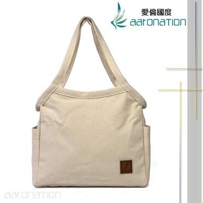 aaronation - FrGuoo系列肩背大容量帆布包 - CE-FRB572-米白