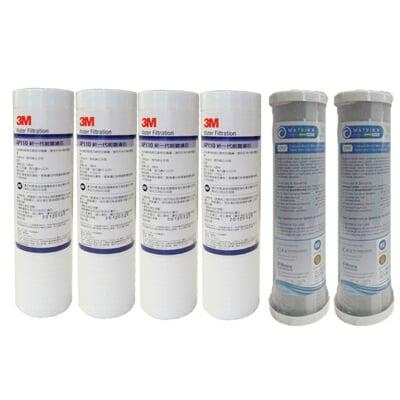 3M AP110 PP濾心四支+美國KX活性碳棒濾心二支-適用電解水前置/各式淨水器/ RO逆滲透