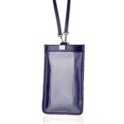 【LIEVO】 TOUCH - 真皮斜背手機護照包(午夜藍)