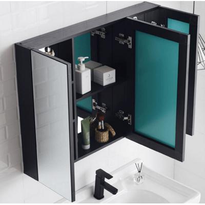 鏡子 浴室鏡 浴室櫃 100*68CM 浴室鏡櫃掛墻式衛生間鏡子帶置物架毛巾桿黑色梳妝鏡壁掛北歐鏡箱