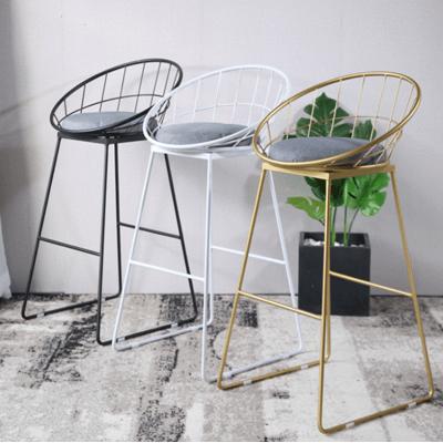 椅子 高腳凳 吧臺椅 75CM 咖啡椅 簡約現代吧臺椅北歐凳金色高腳餐椅時尚創意家用酒吧臺凳鐵藝椅子