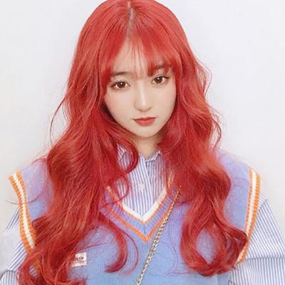 情趣用品 成人娃娃裝扮假髮‧空氣瀏海大波浪長捲髮/紅色