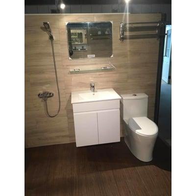 【超值衛浴套組】 單體馬桶+面盆浴櫃+面盆龍頭 + 淋浴龍頭 + 除霧鏡 + 置衣架