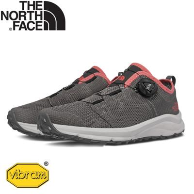 The North Face 女 可調式鞋帶休閒鞋《麻灰/桃粉》3RDT/運動鞋/抓地耐磨/戶外鞋/